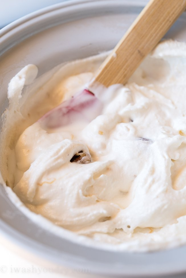 Let the ice cream maker do the work to churn this ice cream into something super smooth and creamy!