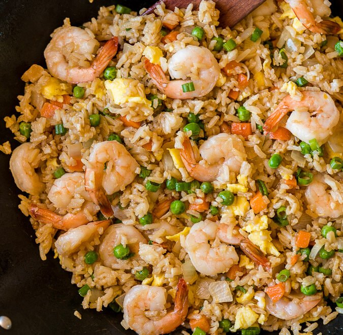 Super easy Shrimp Fried Rice Recipe made in a skillet or wok for an easy weeknight dinner!