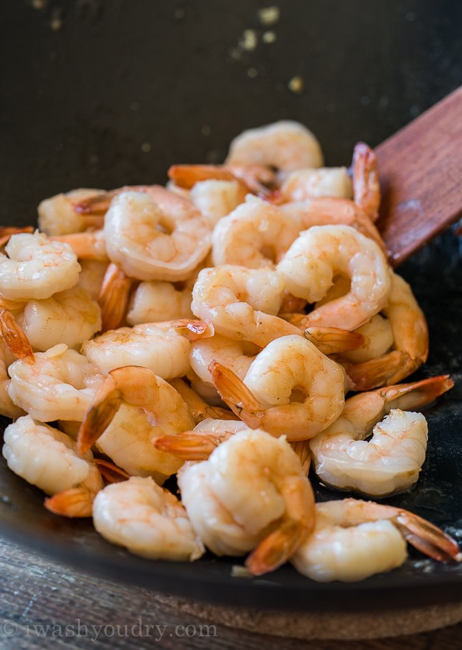 Perfectly cooked shrimp in a wok