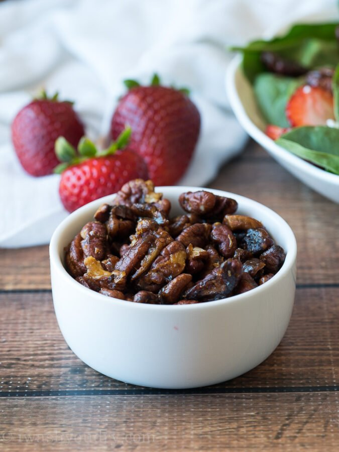 These super easy candied pecans are perfect for adding into salads and even topping dessert!