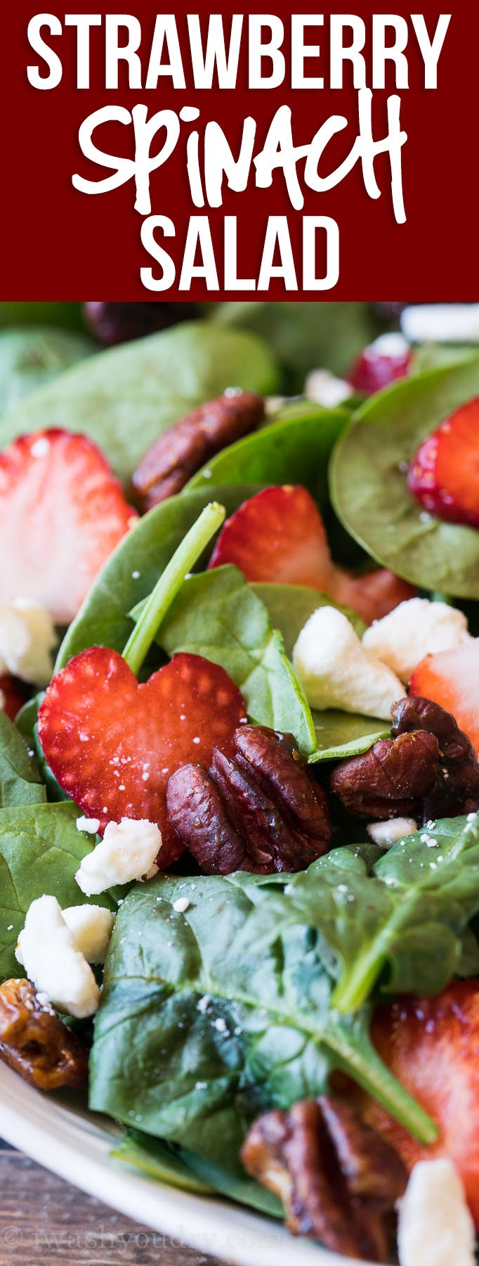 OMG! This Strawberry Spinach Salad with candied pecans was out of this world good! So quick and easy to make too!