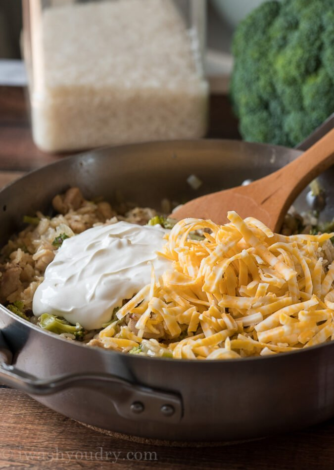 Once the rice is cooked through, stir in some sour cream and cheese until nice and creamy.