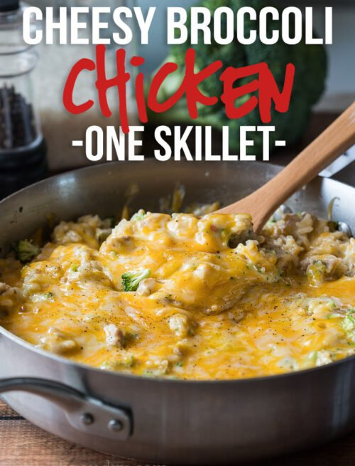 My whole family LOVED this super easy Cheesy Broccoli Chicken Skillet Recipe! Everyone wanted seconds!