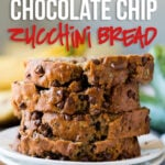 OMG! This one bowl Chocolate Chip Zucchini Bread comes together super fast with just one bowl and a fork! My whole family loved this super moist and delicious bread!