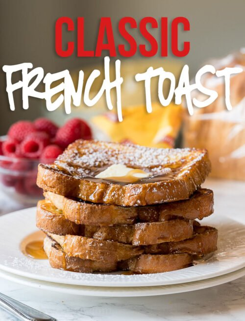 This buttery Classic French Toast Recipe was absolutely perfect! My whole family loves this special treat for breakfast in the morning!