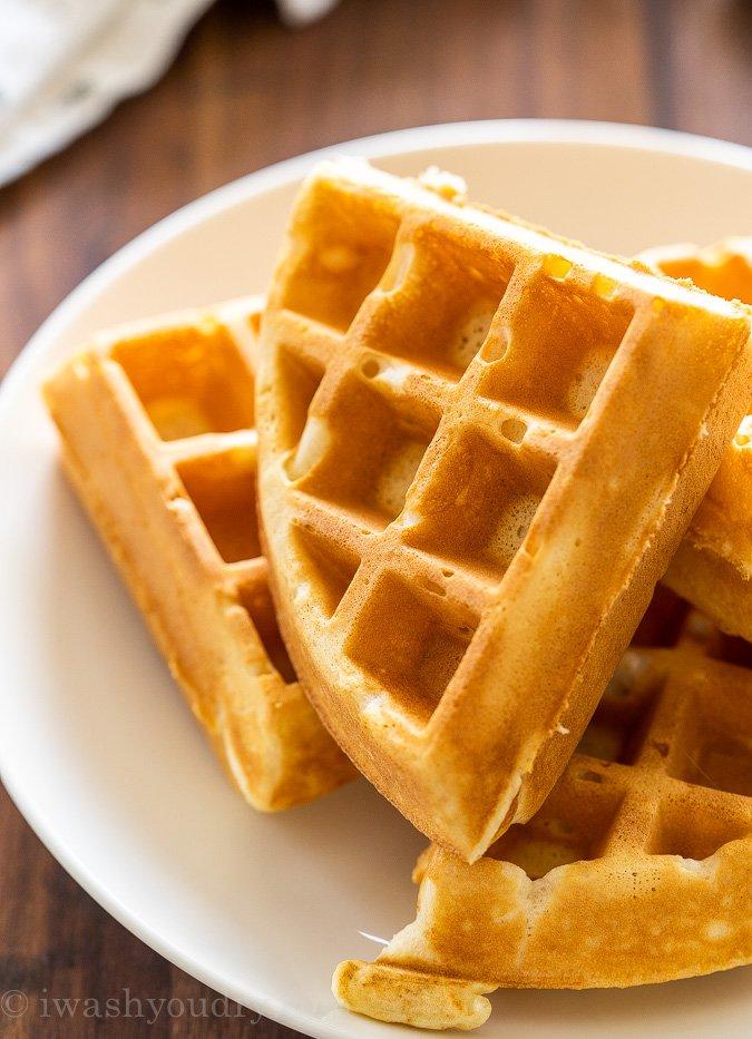 Belgium waffle cut into 4 pieces