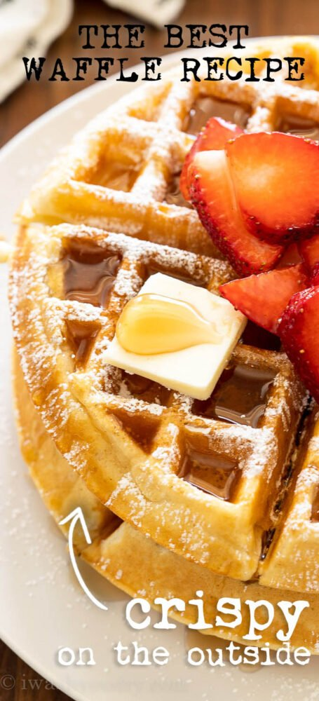 Food on a plate, with Waffle and Butter