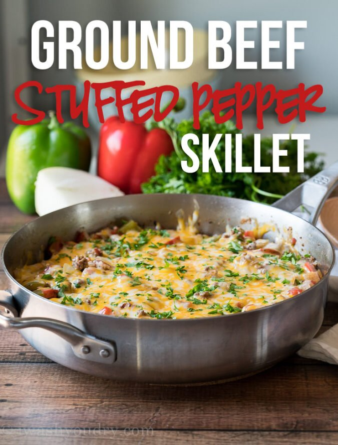 YUM! This super easy Ground Beef Stuffed Pepper Skillet is all the flavors of a traditional stuffed pepper, but made in just one skillet and in less than 30 minutes! My family loved this one!