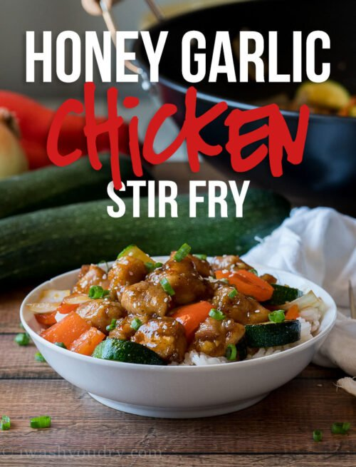 My family LOVES this super easy Honey Garlic Chicken Stir Fry! The veggies are delicious and the sauce is simple and tasty!