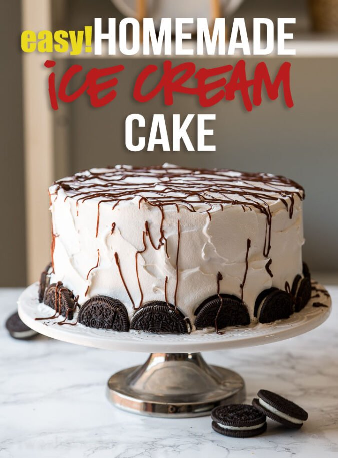 This super easy Homemade Oreo Ice Cream Cake is so good!
