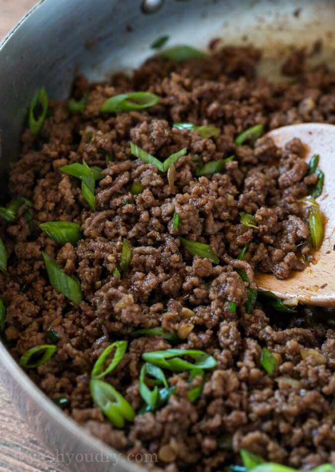 Toss in sliced green onions to give this super easy Korean Ground Beef Recipe extra flavor and color!