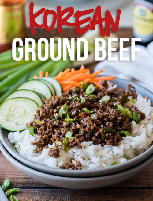 OMG! This super easy Korean Ground Beef Recipe comes together in less than 15 minutes and was the perfect easy dinner recipe for our busy weeknight! Even my picky child ate every last bite!