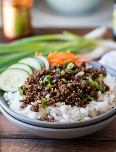 WOW! This super easy Korean Ground Beef Recipe is prepared in less than 15 minutes and makes the perfect weeknight dinner recipe!