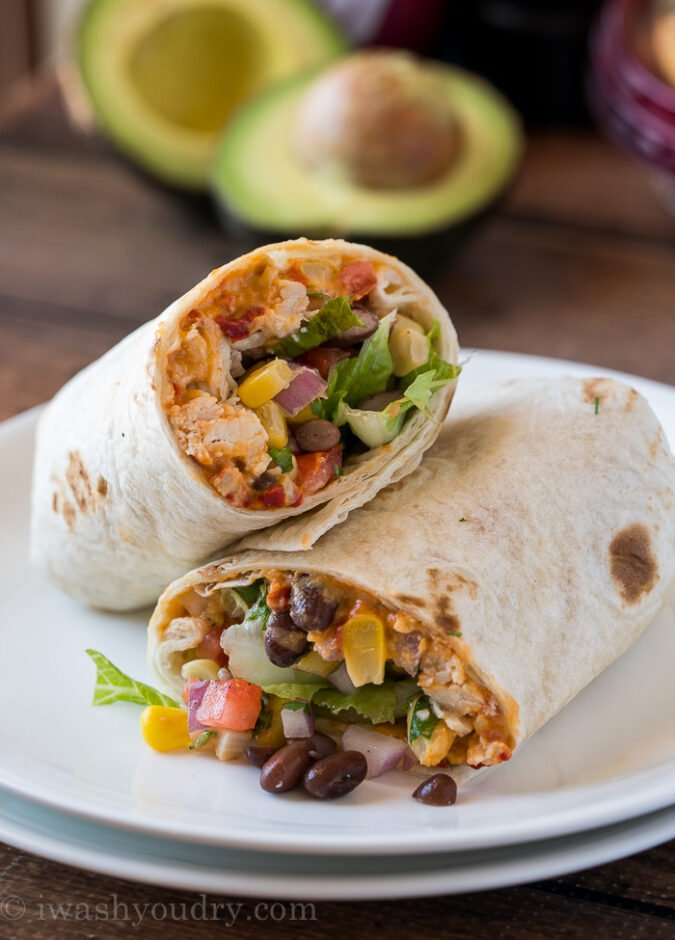 This super easy Southwest Chicken Wrap is filled with Sabra hummus and perfect for back to school lunches or even a quick and healthy work lunch!