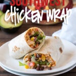 YUM! I'm obsessed with this super easy Southwest Chicken Hummus Wrap! It's quick to make and perfect for making an easy work or school lunch!