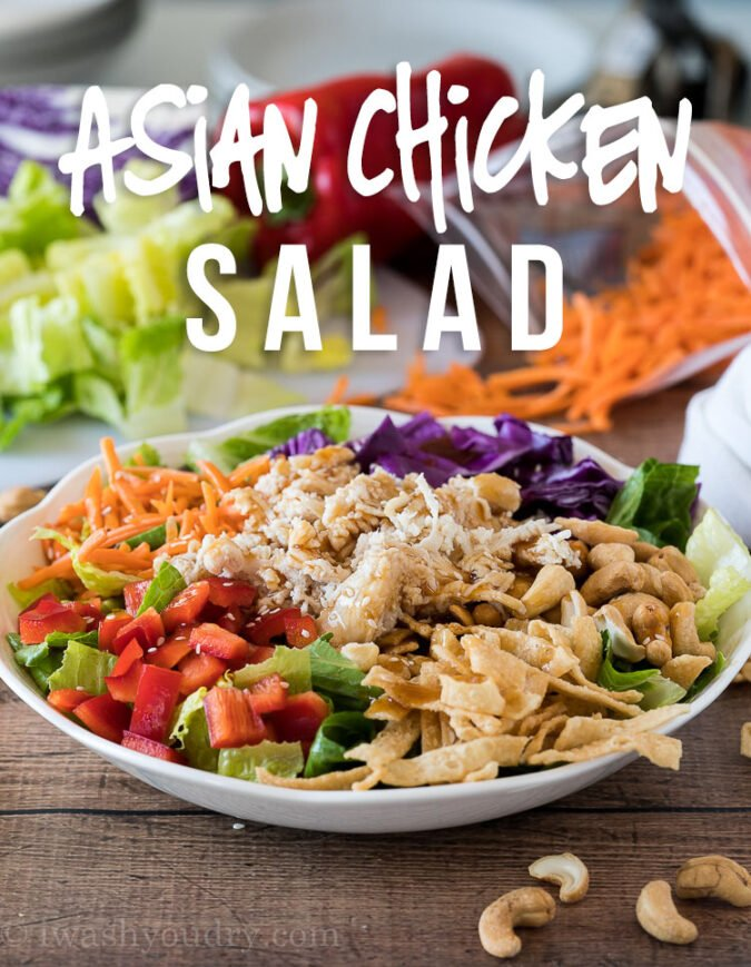 YUM! This Quick Asian Chicken Salad is filled with loads of colorful veggies and shredded chicken. The whole salad takes just a few minutes to throw together and tastes AMAZING!