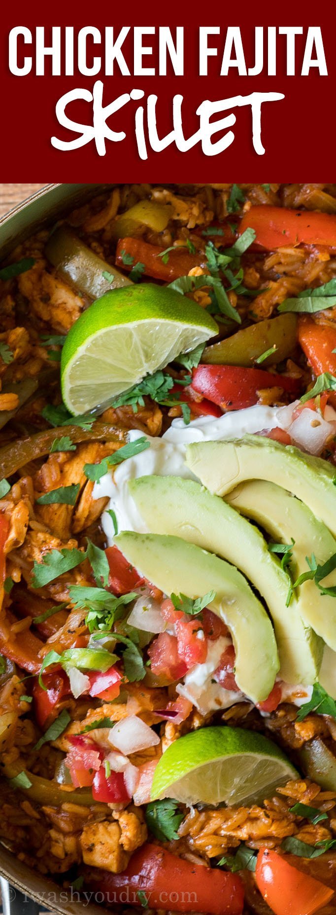 WOW! This fully loaded Chicken Fajita Rice Skillet is filled with all the classic flavors of chicken fajitas in one easy to make recipe! Everything is cooked in just one pan for an easy weeknight dinner!