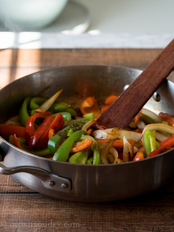 The key to the BEST fajita peppers is to not stir them too much. Let them char and blister in a hot skillet to add color and flavor.
