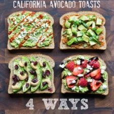 Four slices of toast with avocado on each and a variety of different toppings