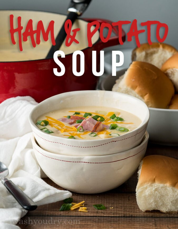 This Cheesy Ham Potato Soup Recipe is filled with tender chunks of potatoes and ham in a creamy broth that's ready in less than 30 minutes!
