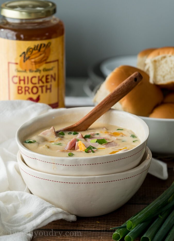 YUM! This creamy and Cheesy Ham Potato Soup Recipe is a family favorite! Everyone LOVED it!