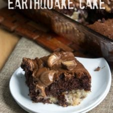 A piece of Chocolate Peanut Butter Earthquake Cake on a white plate