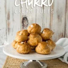 Balls of baked puffs stacked on a plate