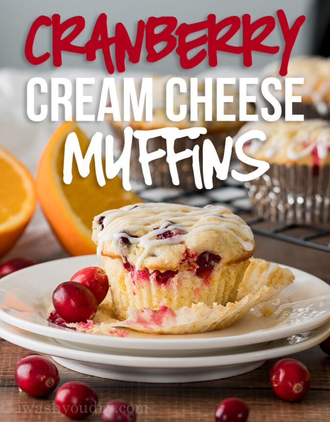 YUM! These Cranberry Cream Cheese Muffins are enhanced with fresh orange zest and tart cranberries in a moist and delicious muffin base. My family LOVES these little muffins!
