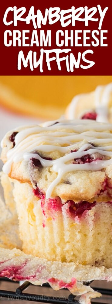 OMG! We can't get enough of these delicious Cranberry Cream Cheese Muffins! They're so soft and tender and the perfect balance of sweet, tart and creamy! YUM!