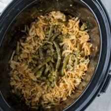 A crockpot of casserole, with green beans