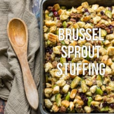 A plan with bread squares and Brussel sprouts in it