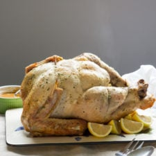 Turkey on a plate on a table