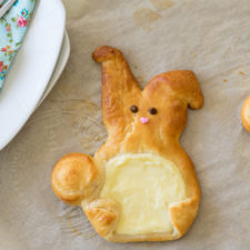 A close up of a bunny shaped pastry on a table