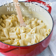 A pan of noodles with white cheese