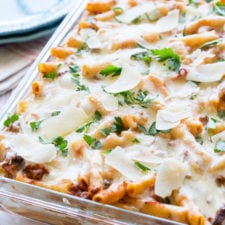 A close up of a baked ziti