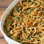 Top your green bean casserole recipe with some crispy fried onion strings and pop it back in the oven until lightly browned.