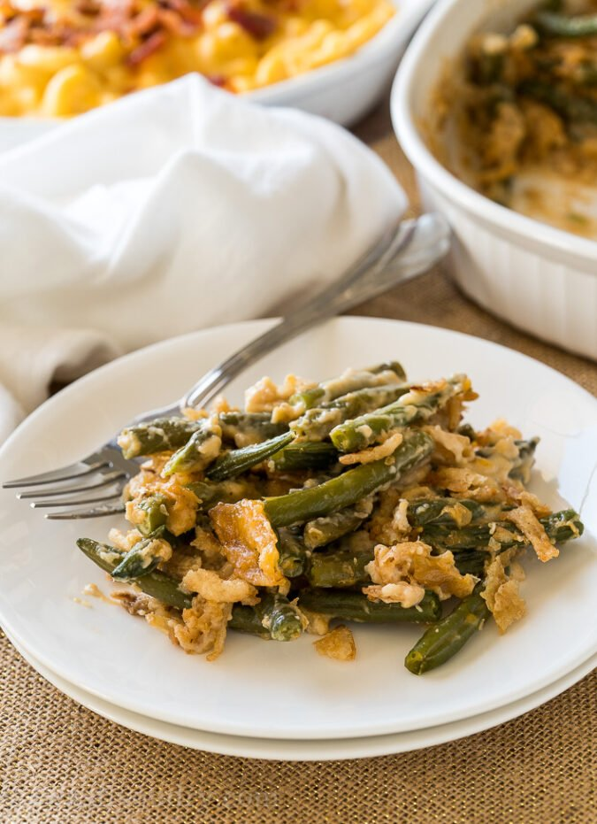 My family LOVES this cheesy Classic Green Bean Casserole recipe! The added cheese really takes it over the top and makes it extra special for the holidays.