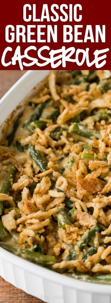 YUM! This Classic Green Bean Casserole Recipe is made with fresh green beans and a surprise ingredient that sends it over the top!