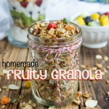 A close up of small jar of granola