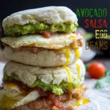 A close up of two stacked Huevos Rancheros Breakfast Sandwiches