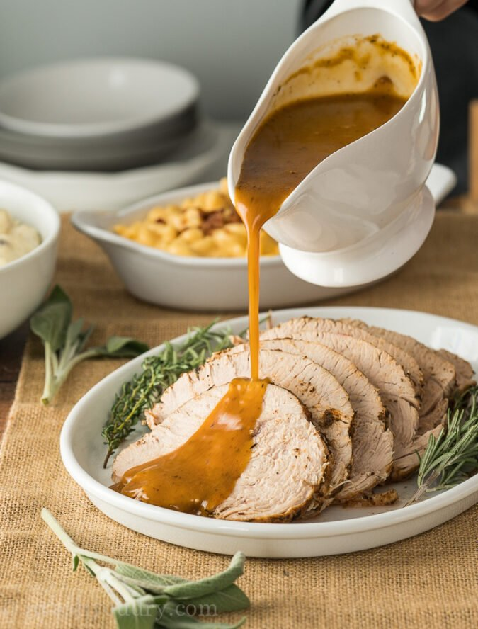 Quickly make a delicious Instant Pot Gravy using the turkey drippings. SO GOOD!