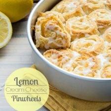 A close up of a pan of baked Lemon Cream Cheese pinwheels