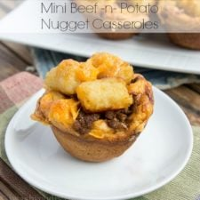 A muffin on plate of Beef and Potato  Nugget Casserole