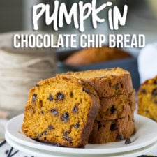 A slices of bread on a plate, with pumpkin chocolate chip bread