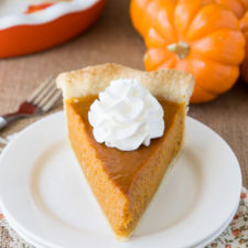 A piece of cake on a plate, with Pumpkin