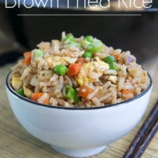 A bowl of brown fried rice