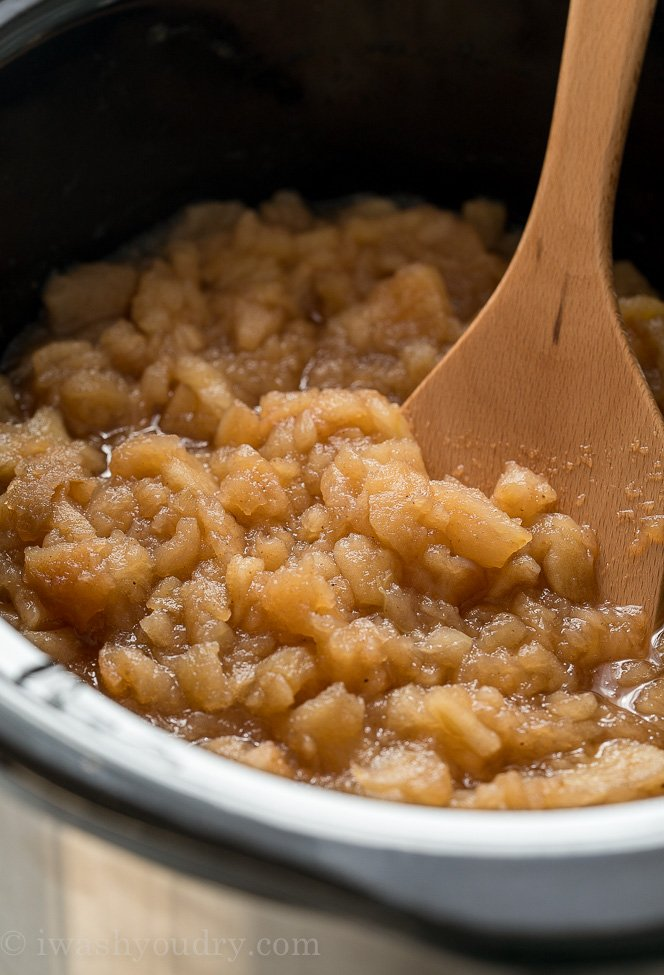 To keep your Slow Cooker Apple Sauce a little more chunky in texture, simply stir the apples throughout the cook time. No mashing or blending of apples required!