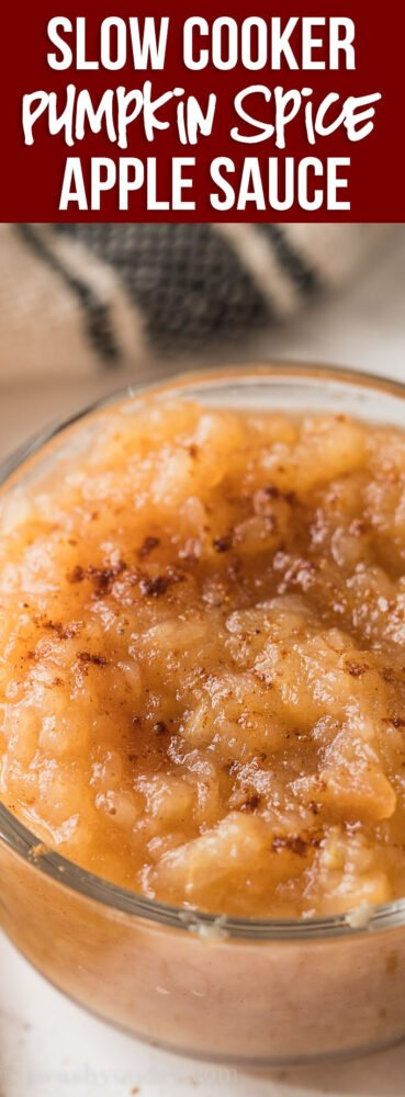 WOW! This Slow Cooker Spiced Apple Sauce Recipe is so easy it practically makes itself! Just toss some apples in your slow cooker and let it cook!