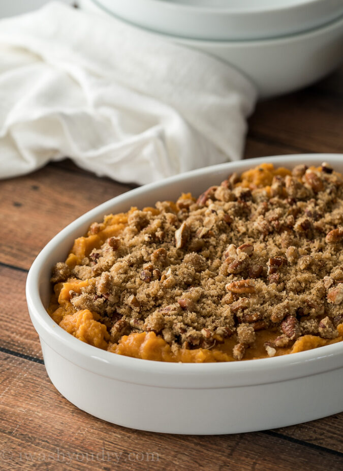 AMAZING! This super quick and easy Sweet Potato Casserole uses Bob Evans Mashed Sweet Potatoes as the base! Brilliant!