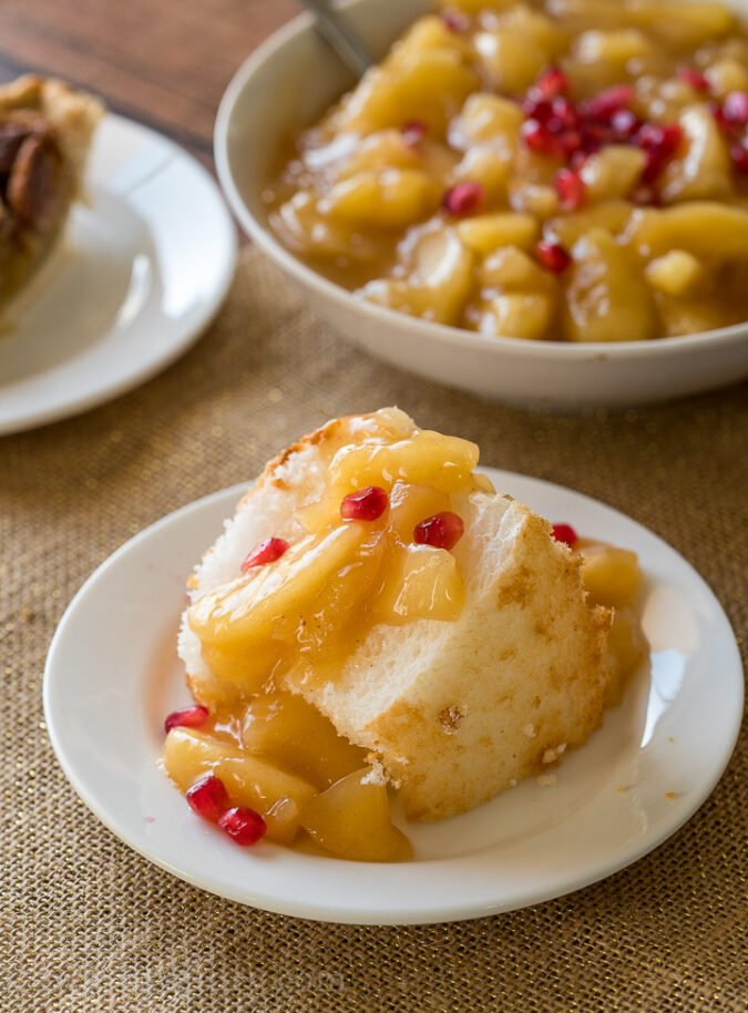 Angel Food Cake topped with glazed apples and pomegranate! YUM!